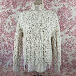 Zara Cable Knit Sweater S Small Turtleneck Beige
